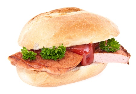 semmel: Meat loaf roll with parsley and ketchup isolated on white background Stock Photo