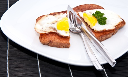 Halved meat loaf with fried egg on a plate Stock Photo - 13778902