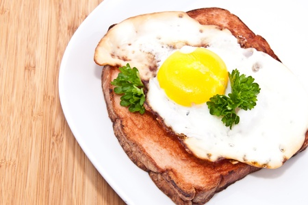 semmel: Meat loaf with fried egg on a plate on wooden background
