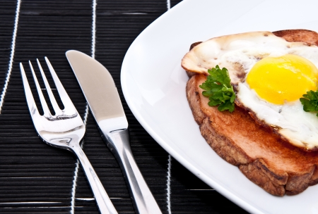 Meat loaf with fried egg and cutlery on a plate Stock Photo - 13778933