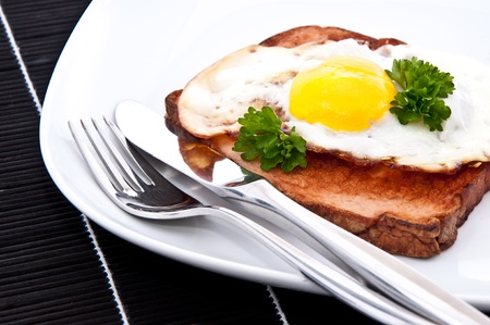 semmel: Meat loaf with fried egg and cutlery on a plate