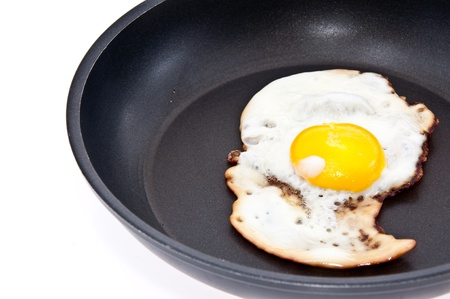 Fried egg in a skillet isolated on white background Stock Photo - 13778929