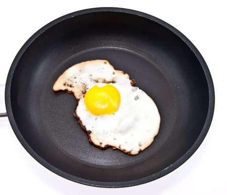 Fried egg in a skillet isolated on white background Stock Photo - 13778904