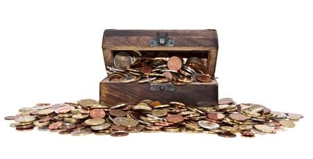 old coins: Tesoro con Euro-Monete (vista totale) isolato su sfondo bianco Archivio Fotografico