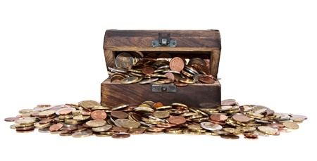 Treasure with Euro-Coins (total view) isolated on white background photo