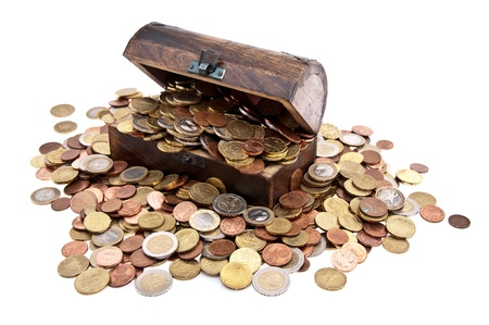 pirate treasure: Treasure with Euro-Coins (total view) isolated on white background Stock Photo