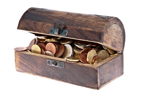 Treasure box filled with Euro-Coins isolated on white background photo