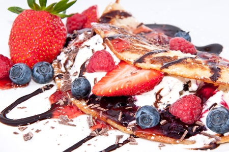 Fresh homemade Ice Cream in Pan Cake with fresh fruits photo