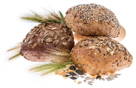 Rolls with wheat isolated on white background photo