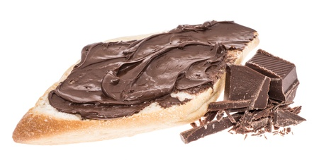 Chocolate Creme on a roll isolated on white photo