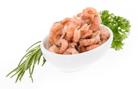 Shrimps in a bowl isolated on white photo