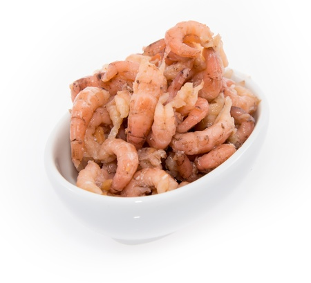 Shrimps in a bowl isolated on white Stock Photo - 14606502