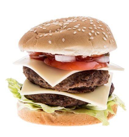 Double Burger with Cheese isolated on white photo