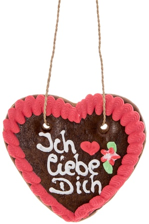 Gingerbread-Heart with I love you in German isolated on white photo