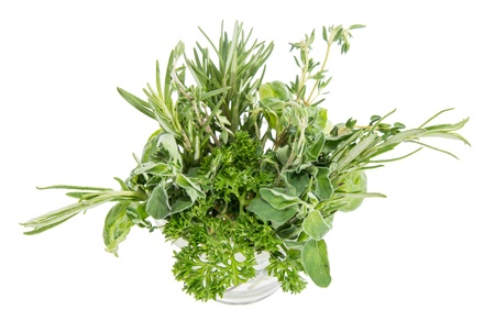 Small glass filled with different Herbs isolated on white background Stock Photo - 14773939