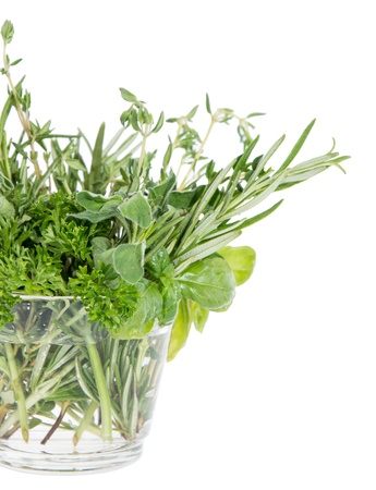 Small glass filled with different Herbs isolated on white background Stock Photo - 14773927
