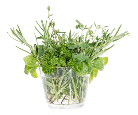 Small glass filled with different Herbs isolated on white background Stock Photo - 14773926