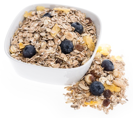 Mixed Muesli in a bowl isolated on white background