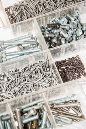 Set of Screws and Nails isolated on white background photo