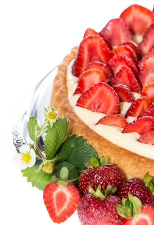 fruit cake: Strawberry Cake isolated on white background