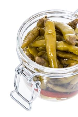Pickled Chilis isolated on white background  photo