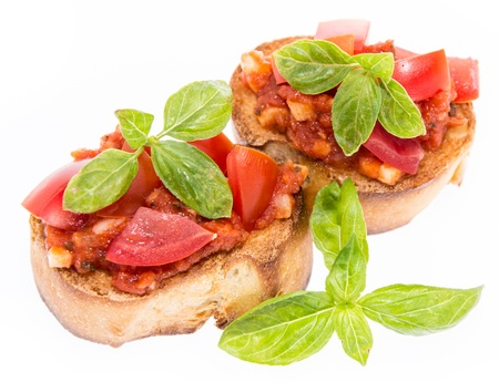 antipasto: Fresh Bruschetta isolated on white background Stock Photo