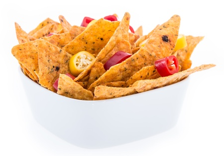 Portion of Nachos isoalted on white background photo