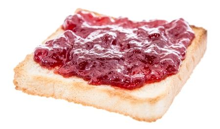 Toast with jam isolated on white background