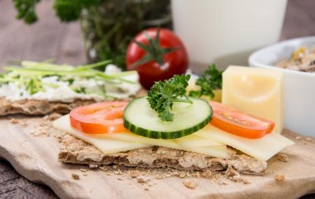 sesame cracker: Healthy breakfast on wooden background