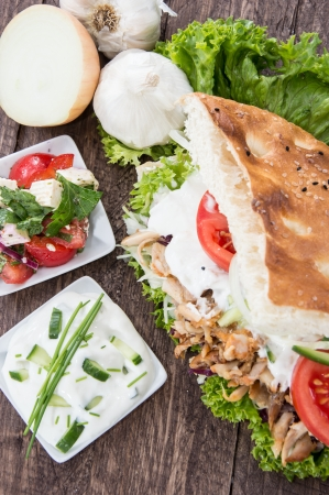 Homemade Doner on wooden background photo