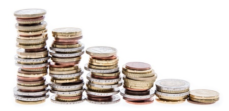 Stacked Money isolated on white background Stock Photo