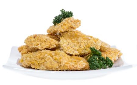 nuggets de poulet: Partie des p�pites de poulet isol� sur fond blanc
