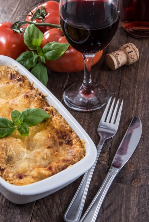Fresh homemade Lasagne in a gratin dish photo