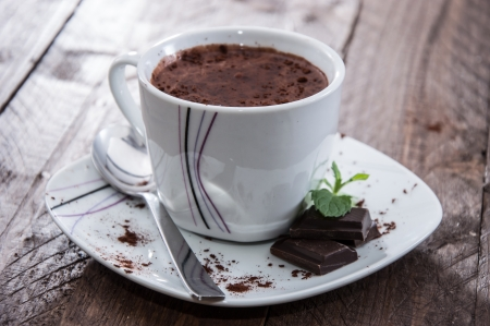 hot chocolate drink: Hot Chocolate in a mug Stock Photo