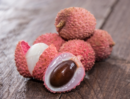 Fresh Lychees (macro shot) on wooden background Stock Photo - 17072006