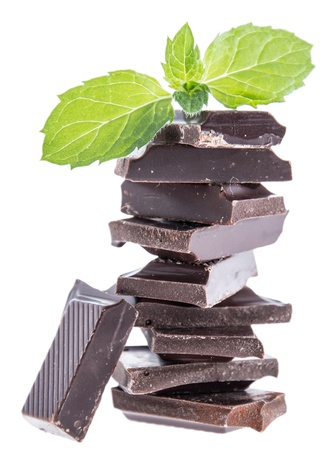 Chocolate with Mint isolated on white background photo