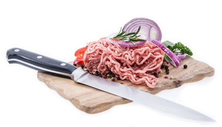 Cutting board with Minced Meat isolated on white background