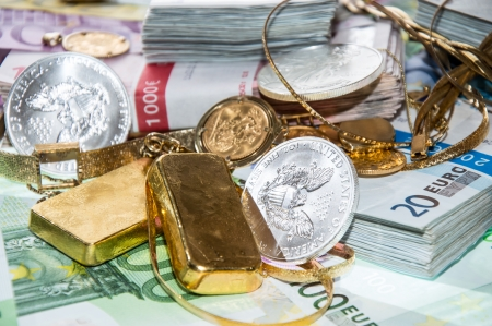 Euro Bills, Gold (bullions and jewellery) and Silver Coins photo