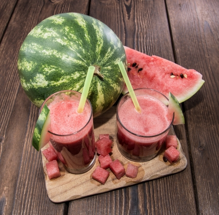 Fresh made Watermelon Juice with fresh fruit pieces photo