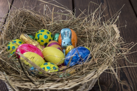 Easter Nest with different Chocolate Sweets Stock Photo - 18458506