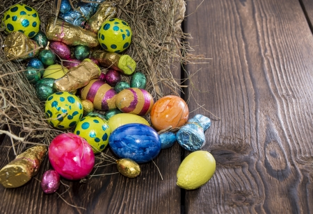 Easter Nest with different Chocolate Sweets photo