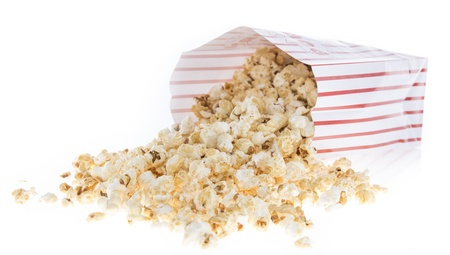 Popcorn bag isolated on white background photo