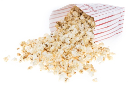 Fresh made Popcorn isolated on white background photo