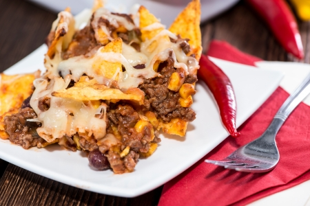 Nacho gratin with Cheese and Chili con Carne photo