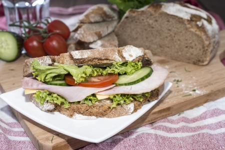 Fresh made Turkey Sandwich with cheese photo
