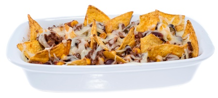 Nachos with Cheese and Chili con Carne isolated on white background photo