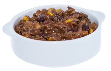 Fresh made portion of Chili con Carne isolated on white background photo