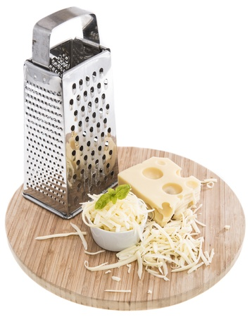 Emmentaler with Cheese Grater isolated on white background photo