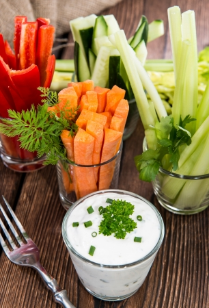 crudite: Mixed Vegetables (Celery, Cucumber, Red Pepper and Carrots) in small glasses
