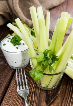 crudite: Celery Sticks in a glass (diet food)
